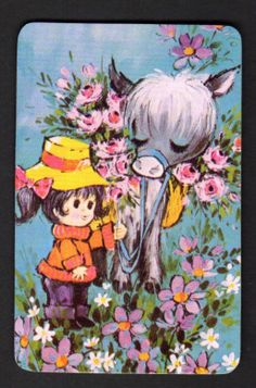 Vintage Swap Card - Cute Girl with Donkey