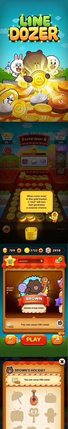 LINE Dozer! Join Brown, Moon, Cony, and all your favorite LINE characters in this fun and simple coin-pusher game.