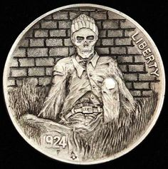 ALEX OSTROGRADSKY HOBO NICKEL - STAYED TOO LONG - 1924 BUFFALO NICKEL Old Coins, Rare Coins, Hobo Nickel, Coin Art, Halloween Skull, Skull And Bones, Coin Collecting, Skull Art, Art Forms