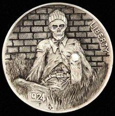 ALEX OSTROGRADSKY HOBO NICKEL - STAYED TOO LONG - 1924 BUFFALO NICKEL