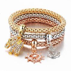 17KM 2017 HOT 3 PCS/Set Crystal Butterful Bracelet & Bangle Multiple Shape Elastic Heart Bracelets For Women pulseira masculinaBracelets