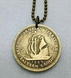 Coin necklace  Ship Necklace  British by FindsAndFarthings on Etsy