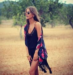 Slip dress and floral kimono in summer