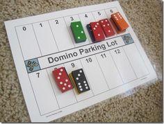 Descomposición de números con un parking de fichas de dominó. Actividad sencilla de preparar y con plantilla descargable.