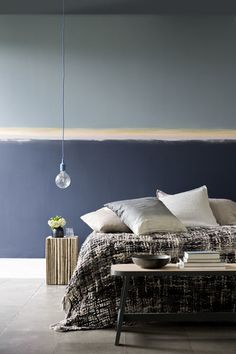 Blues are the most restful and restorative of the colour spectrum, so turn your bedroom into a sleep sanctuary with twilight-like tones of Sapphire Springs, Atlantic Surf 3 and a dash of Twisted Bamboo 1 and Pure Brilliant White to create a soft horizon effect. Sweet dreams.