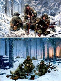 Bastogne, Ardennes, Belgium. Paratroopers of Easy Company, 2nd Battalion, 506th PIR, 101st Airborne Division 101st Airborne Division, Paratrooper, North Africa, Belgium, Battle, Adventure, Easy, Painting, Military