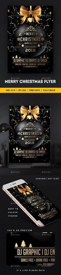 Merry #Christmas #Flyer Template - Clubs & Parties Events