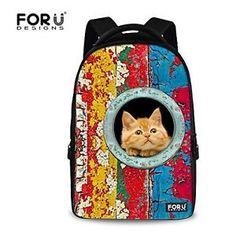For U Designs Funny Colorful Cat Unisex Animal Girl School Backpack Bookbags | eBay