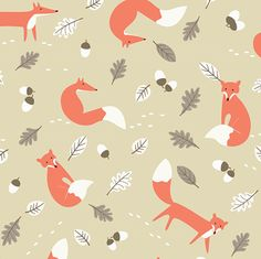 Fox Natural 100% printed cotton fabric. £7.95/m. #FoxPrint #CottonFabric #CraftFabric