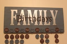 Family Birthday Wall Hanging by TheStorkMama on Etsy, $45.00