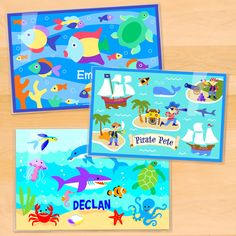 Ocean 3 Piece Boys Personalized Placemat Set