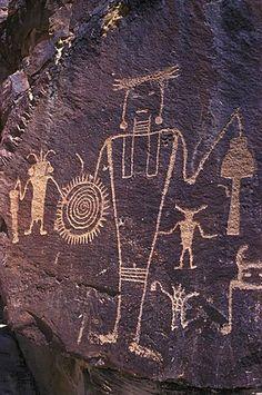 Prehistoric Fremont rock art (petroglyphs) in Dinosaur National Monument in Utah…