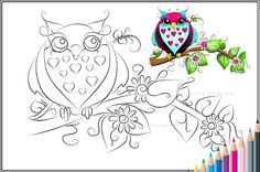 Owl Loves A Lot - Fantasy Owl/Bird Art - Printable PDF Coloring Page by Concetta Kilmer. $2.50, via Etsy.