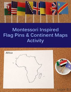 Montessori Inspired Flag Pins and Continent Maps   Mini Flag Unit Ideas   eager Ed