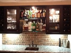 This Home Bar Used Our Lancaster Running Bond Tiles As A Back Splash.