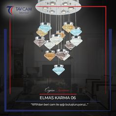 Elmas Karma Avize 06 modern görünümüyle ev dekorasyonlarında farklılık yaratıyor. ✨ ►https://goo.gl/Lifhyi #tavcam #tavcamavizeaydınlatma #elmaskarma #avizeci #dekorasyon #camsanatı #avizemodelleri