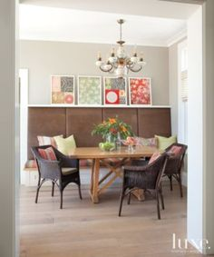 Brown Leather Breakfast Nook Banquette
