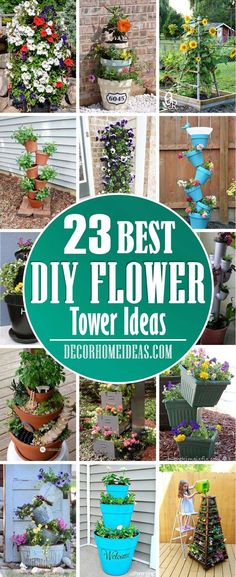 Best DIY Flower Tower Ideas. Spruce up your garden with these flower towers that are easy to do. #diy #garden #flowertower #decorhomeideas Stacked Flower Pots, Large Flower Pots, Garden Projects, Garden Ideas, Recycling Projects, Garden Tips, Outdoor Projects, Art Projects, Shade Flowers
