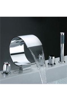 Look at how amazing this faucet looks. This is a silver nickel faucet that is circular. This would be great with a modern style bathroom. - Model Home Interior Design Modern Bathroom Faucets, Sink Faucets, Bathroom Interior, Sinks, Contemporary Bathrooms, Bathroom Designs, Small Bathroom, Bathroom Ideas, Contemporary Art