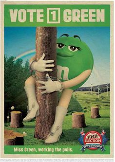 Miss Green. Masterfoods is running a poll in Australia and New Zealand: the M&Ms Elections. 2008