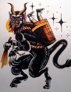 Krampus flash tattoo print by BosWorkshop on Etsy Traditional Tattoo Old School, Traditional Tattoo Design, Tattoo Flash Art, Tattoo Ink, Arm Tattoo, Devil Tattoo, Tatuagem Old School, Traditional Tattoo Flash, American Tattoos
