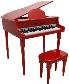 Crescent Direct KGP-RD 30 Keys Red Toy Grand Piano with Bench