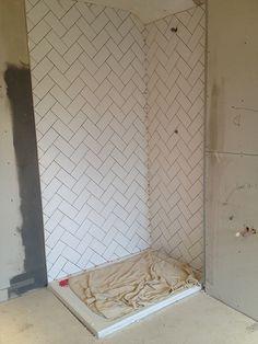 Decided White Subway Tile But Lay Herringbone Pattern Lil Bath