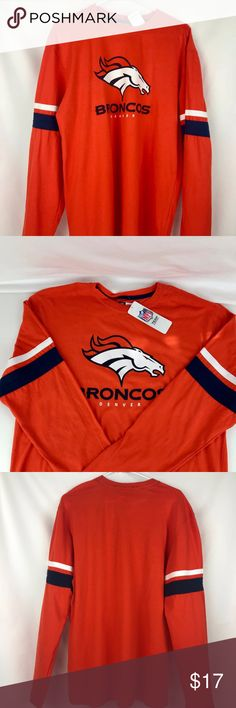 Denver Broncos Men's Long Sleeve Tee Brand New Officially Licensed with tags. This stylish men's long sleeve Coverage Call Tee has team screen print in front and bold contrasting sewn on stripes on the arms. Made from super soft 100% cotton for Game Day and every day. (S)821382458025 (M)821382458018  (L) 821382437457 NFL Shirts Tees - Long Sleeve