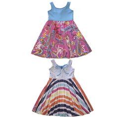 Buy these Summer dresses for girls that are reversible, twirly & perfect for a party & everyday. Big retro flowers & hearts with blue sparkles. Made in USA. Girls Boutique Dresses, Boutique Clothing, Girls Dresses, Flower Girl Dresses, Friends Fashion, Kids Fashion, Little Girl Summer Dresses, Rainbow Dresses, Girl Scout Crafts