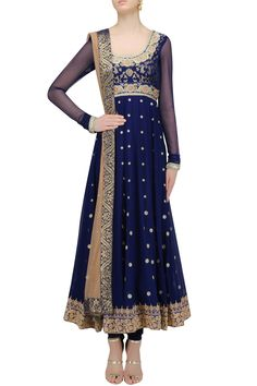 Description This set features an ink blue flared kalidaar anarkali in georgette base with banarasi silk yoke embroidered with zardozi and pearl work on the neckline and waist. It has gold floral embroidered wode border. It is paired with matching ink blue lycra churidaar and nude net dupatta with banarasi silk border. FIT: Cut for relaxed fit. COMPOSITION: Georgette, net.