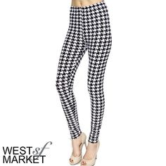 -NEW ARRIVAL-  Houndstooth Leggings Houndstooth print leggings. Pair with your favorite tee or oversize sweater and you're good to go! 92% polyester & 8% spandex, and velvety soft! One Size. PLEASE COMMENT TO BUY THIS LISTING, I will make a separate listing for you. West Market SF Pants Leggings