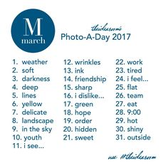 Join us for our Instagram Photo Challenge by using the photo prompts from our March Photo A Day Challenge 2017. Great way to enjoy taking a photo a day.