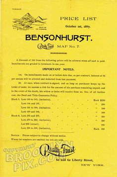 Bensonhurst, original price list, 1897 Bensonhurst old brooklyn classic Big Apple vintage New York City prints Images and Photography at Old NYC Photos