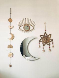 Room Inspo❤️ OM wall hanging, moon phase decor, all seeing eye Boho Room, Boho Bedroom Diy, Bedroom Ideas, Funky Bedroom, Tapestry Bedroom Boho, Zen Bedroom Decor, Gypsy Room, Bedroom Crafts, Warm Bedroom