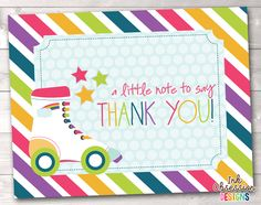 Items similar to Printable Thank You Card Design - Rainbow Stripes Roller Skating Party on Etsy Roller Skating Party, Skate Party, Thank You Card Design, Thank You Card Size, Printable Thank You Cards, Printable Planner Stickers, Design Girl, Party Printables, Card Sizes