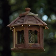 Lighted Cedar Gazebo Bird Feeder