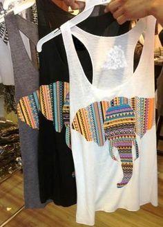 Aztec Elephant Tank (could totally diy if you wanted, get some tribal pattern fabric, print/cut out elephant template and trace on fabric, glue on w/ fabric glue or sew on !)