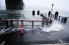 New York, New York: Oct. 29, 2012, along the East River, Hurricane Sandy, a