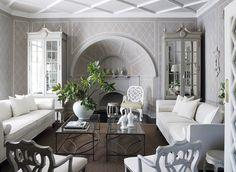 Trellis impressions in this elegant yet stark living room.