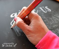 Perfect Chalk writing every time!  I love this idea on creating the perfect looking chalkboard.