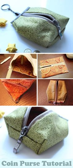 Coin Purse Tutorial ~ Sewing projects for beginners. Step by step sew tutorial. … Coin Purse Tutorial ~ Sewing projects for beginners. Step by step sew tutorial. How to sew illustration. Bag Sewing Pattern, Sewing Patterns Free, Free Pattern, Purse Patterns, Easy Patterns, Wallet Pattern, Coin Purse Pattern, Coin Purse Tutorial, Pouch Tutorial