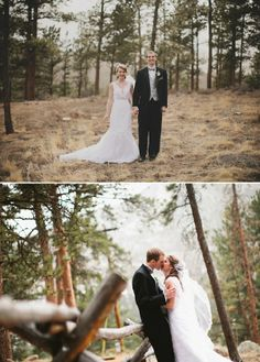 The vintage look in this top wedding photo is great! Estes Park, Colorado wedding near Rocky Mountain National Park.