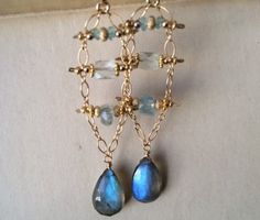 Labradorite &  Aquamarine Gold Filled Chandelier Earrings Chandelier Earrings, Drop Earrings, Labradorite, Artisan, Gemstones, Trending Outfits, Unique Jewelry, Handmade Gifts, Gold