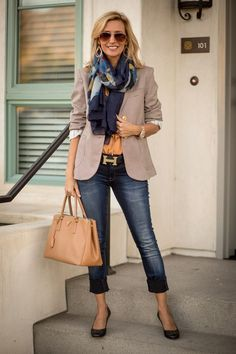 Navy/Blue Abstract Print Scarf and Gold Plated Double Hoop Earrings, beige blazer, Hermes h belt, cropped jeans, satchel | spring work style