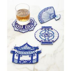 Kim Seybert Ming Coasters (365 AED) ❤ liked on Polyvore featuring home, kitchen & dining, bar tools, indwht, kim seybert and handmade coasters