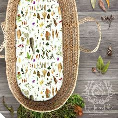Bassinet sheets are gradually making an appearance in my Etsy shop! Take a look www.etsy.com/shop/thistleandfox  this design is Australian Bushland  based on my photographs of all the little bits of nature collected on a walk in the forest around my home. Bits of bark, Gumnuts, Lilly pilly berries, gum leaves, mushrooms and lichen for all your nature bubs and gumnut babies ☺️