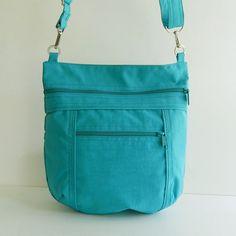 Sale - Teal Water Resistant Nylon Messenger Bag - Shoulder bag, Tote, Hip bag, Travel bag, Women - JOY
