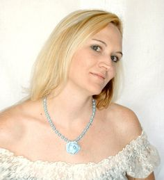 Fabric Rose Pearl Necklace Baby Blue by MoJosFreeSpirit on Etsy, $25.00