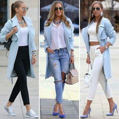 Light Blue Outfits - Classic Outfits for Working Women - Just Trendy Girls Blue Blazer Outfit, Blazer Outfits For Women, Look Blazer, Jean Outfits, Chic Outfits, Fall Outfits, Fashion Outfits, Womens Fashion, Blue Outfits