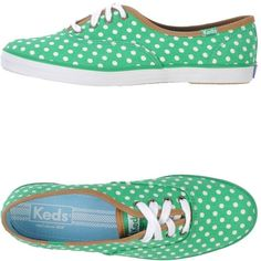 Keds Sneakers ($24) ❤ liked on Polyvore featuring shoes, sneakers, green, keds footwear, round toe shoes, polka dot shoes, green sneakers y round cap